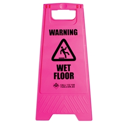 "Safety A-Frame ""Wet Floor"" Pink Floor Sign BASAC11P"