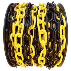 Yellow/Black Plastic Chain 8mm (Sold per Metre)