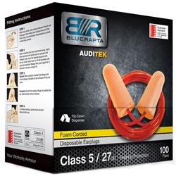 Blue Rapta Auditek 27dB CL5 Corded Earplugs (Bx 100pr)