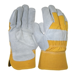 Blue Rapta Grey/Yellow Leather Gloves w/ Safety Cuff