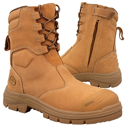 Oliver AT 55 200mm Hi-Leg Wheat Zip Sided Safety Boots 55-385
