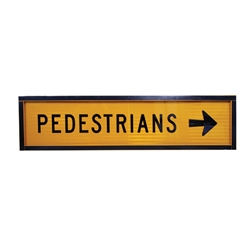 Pedestrian Right Arrow Boxed Edge Sign 1200 x 300mm
