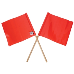 Multi Message Orange PVC Flag with Wooden Handle  300 x 300mm