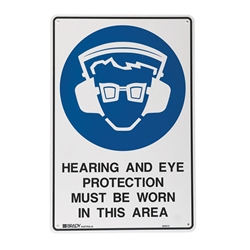 Hearing And Eye Protection Metal Sign 300x225mm