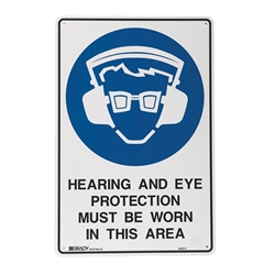 Hearing And Eye Protection Metal Sign 600x450mm