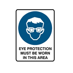 Eye Protection Must Be Worn Metal Sign 450x300mm