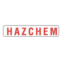 Red Hazchem Metal Sign 600 x 180mm