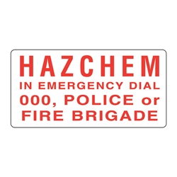 Hazchem In Emergency Dial 000 Metal Sign 600x300mm