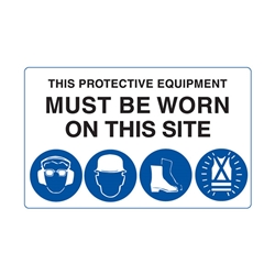 Mandatory This Protection Equipment Must be Worn Corflute Sign 900 x 450mm