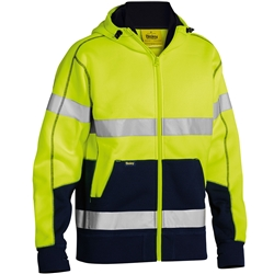 Bisley Safetywear Two Toned Hi-Vis H Taped Fleece Hoodie