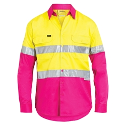Bisley Hi Vis 2 Tone Cool Light Weight 3M™ Taped Drill Shirts