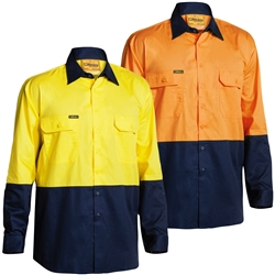 Bisley Hi Vis 2 Tone Cool Lightweight Long Sleeve Shirt