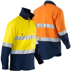 ELEVEN Workwear Hi-Vis Closed Front Drill Shirt w/ 3M™ Tape
