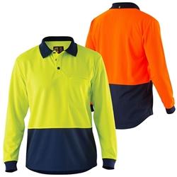 ELEVEN Workwear E1410S Long Sleeve Hi-Vis Micromesh Spliced Polo Shirt