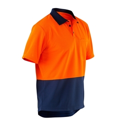ELEVEN Workwear Short Sleeve Hi-Vis Micromesh Spliced Polo Shirt