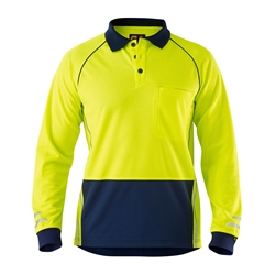 ELEVEN Workwear Long Sleeve Hi-Vis Micromesh Cool Spliced Polo Shirt