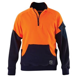 ELEVEN Workwear Qtr Zip Hi-Vis Polar Fleece Spliced Jumper