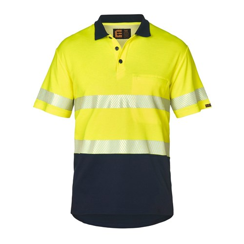 ELEVEN Workwear Spliced Hi-Vis Cotton Back S/S Polo Shirt with Reflective Tape