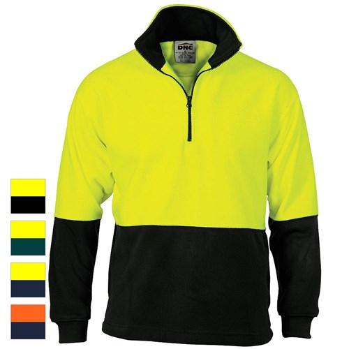 DNC Workwear 2-Tone Hi-Vis 1 2 Zip Polar Fleece Jumper 3825 40b08dab763