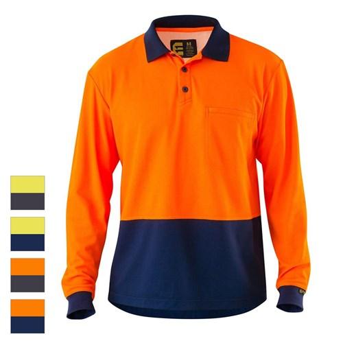 ELEVEN Workwear Spliced Hi-Vis Cotton Back L S Polo Shirt 941ee985e