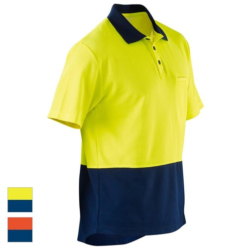 ELEVEN Workwear Spliced Hi-Vis Cotton Back S S Polo Shirt 91a038929
