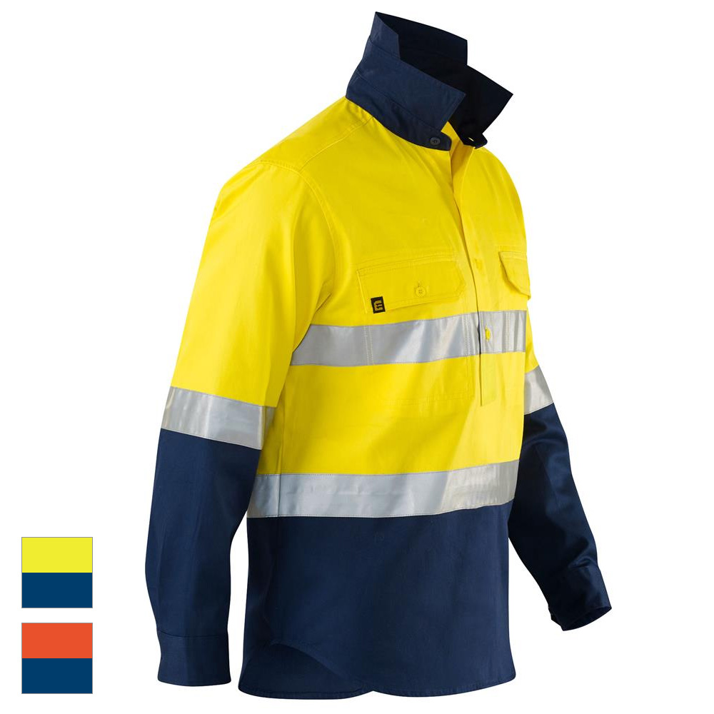 c31c9a096 ELEVEN Workwear Evolution Spliced Hi-Vis Hooped 3M™ Taped Closed Front  Drill Shirt
