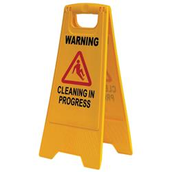 "Safety A-Frame ""Cleaning In Progress"" Yellow Floor Sign BASAC12Y"