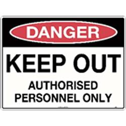 Danger Keep Out Authorised Personnel Metal Sign 600x450mm