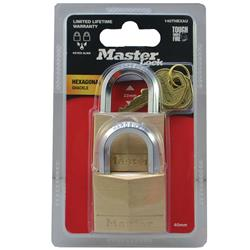 Master Lock® 40mm Diamond Hex Brass Padlocks 140THEXAU (Pk 2)