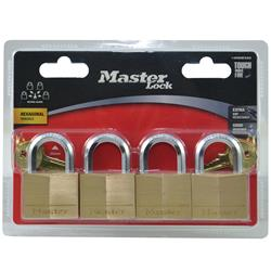 Master Lock® 40mm Diamond Hex Brass Padlocks 140QHEXAU (Pk 4)