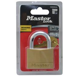 Master Lock® 50mm Diamond Hex Brass Padlock 150DHEXAU