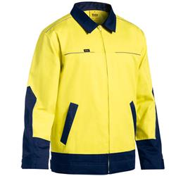 Bisley Safetywear Two Tone Hi-Vis Liquid Repellent Cotton Drill Jacket