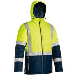 Bisley Safetywear Two Toned Hi-Vis H Taped Hooded Puffer Jacket