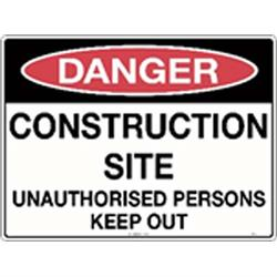 Danger Construction Site Unauthorised Metal Sign 600x450mm