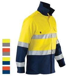 ELEVEN Workwear AeroCOOL Spliced Hi-Vis Bio-Motion 3M™ Taped Cotton Drill Shirt