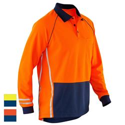 ELEVEN Workwear Spliced Hi-Vis Micromesh L/S Polo Shirt