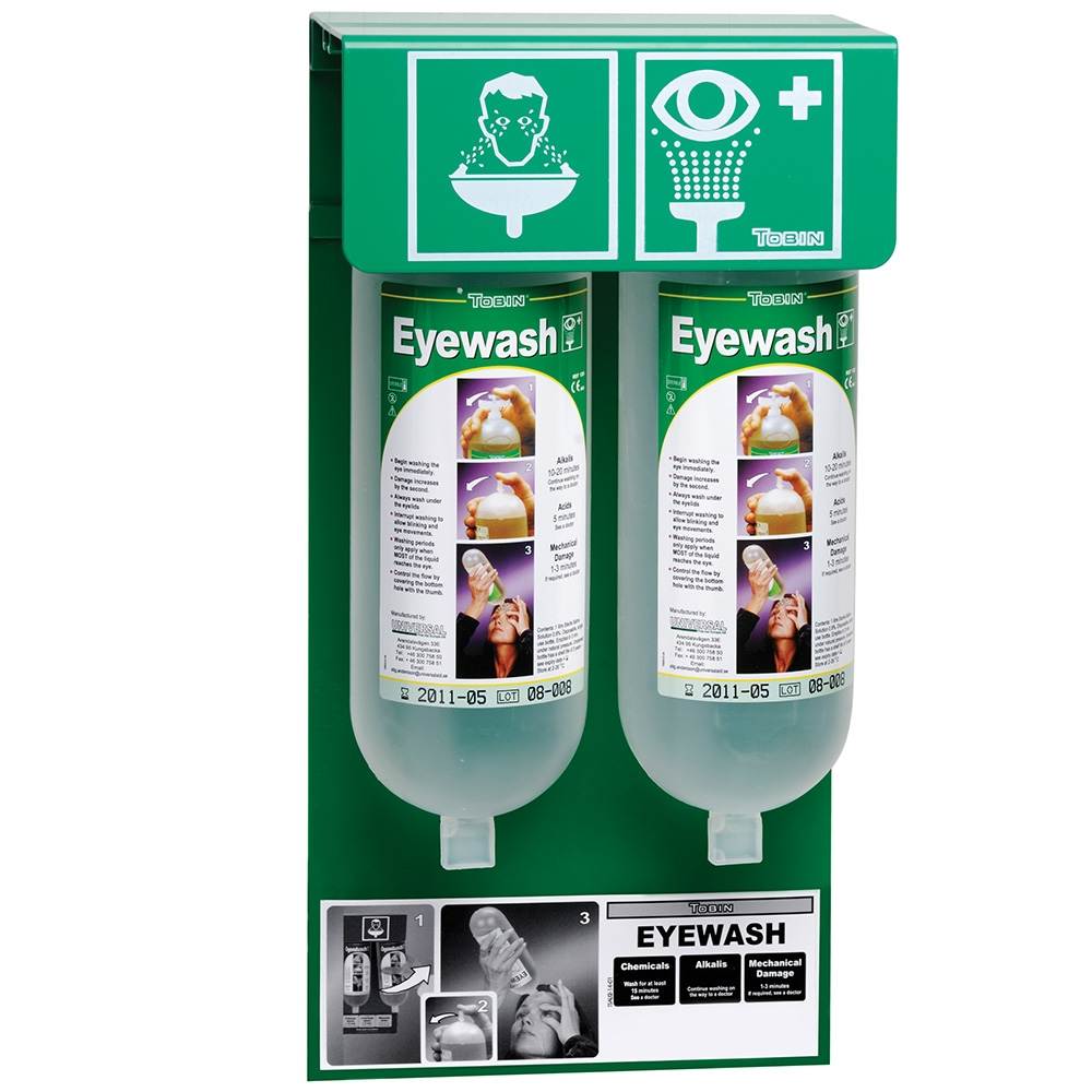 Tobin Eyewash Wall Stand 2 Bottle System Tob129