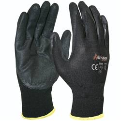 Blue Rapta BRSENBLK Sensei Black Nitrile Palm Gloves