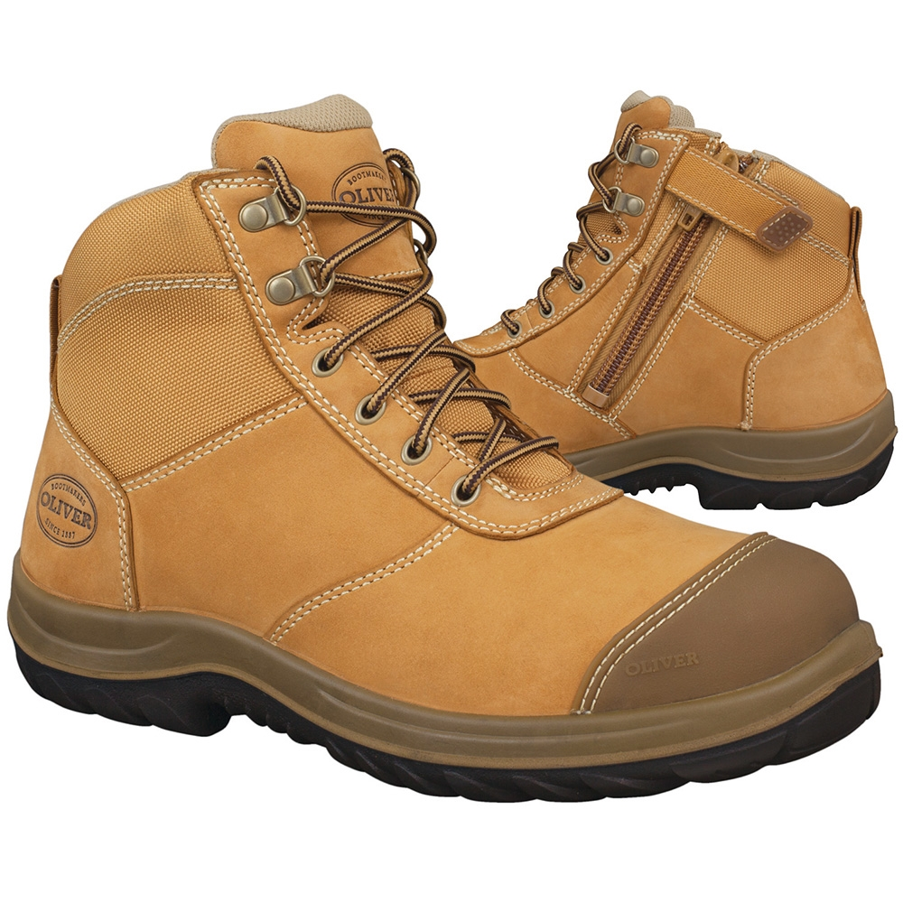 0db689dc721 Oliver Wheat Zip Sided Ankle Safety Boots 34-662