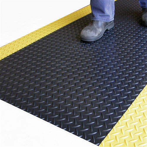 Mat Anti Fatigue Diamond Plate Black/Yellow 0.6m Cut To Size PMSD275S