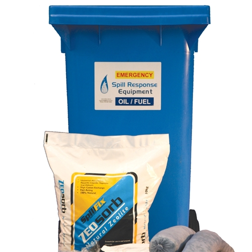 120Ltr Oil /& Fuel Spill Kit in Wheelie Bin