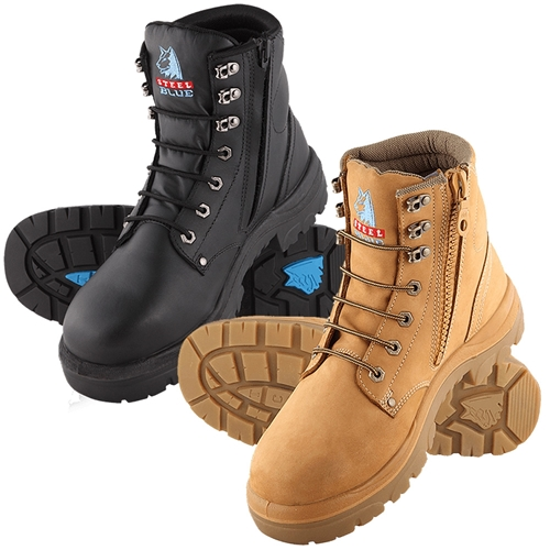 312152 Steel Blue Argyle Zip Sided Safety Boots