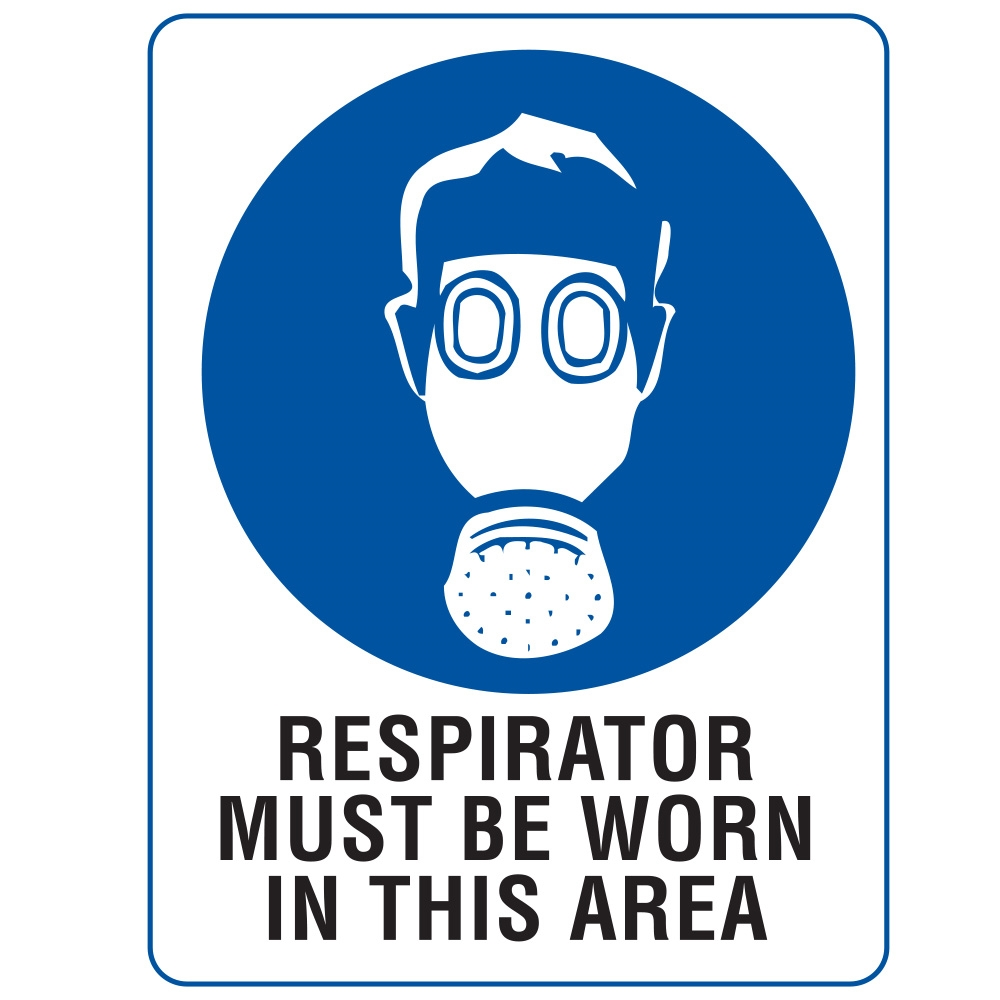 Respirator Must Be Worn In This Area 600x450mm Metal Sign ...